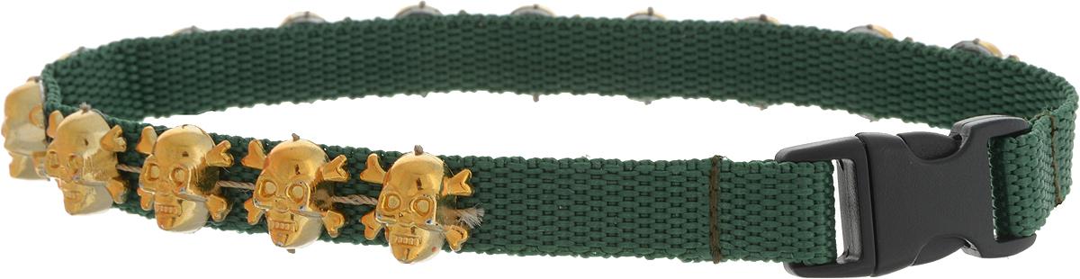 Ошейник для животных GLG Парад черепов, ширина 1, обхват шеи 28 смOH19/C_зеленыйОшейник для животных GLG Парад черепов с оригинальным оформлением изготовлен из нейлона и высококачественного пластик.Сверхпрочные нити делают ошейник надежным и долговечным. Ошейник отличается высоким качеством, удобством и универсальностью.Обхват шеи: 28 см. Ширина ошейника: 1 см.