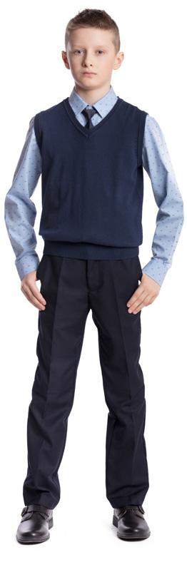 Жилет для мальчика Scool, цвет: темно-синий. 373422. Размер 122, 7 лет373422Жилет для мальчика Scool изготовлен из мягкой и тактильно приятной ткани. Жилет с V-образным вырезом горловины сможет быть одной из базовых вещей повседневного школьного гардероба ребенка. Проймы рукавов и низ модели связаны резинкой.