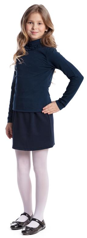 Водолазка для девочки Scool, цвет: темно-синий. 374498. Размер 122, 7 лет374498Водолазка для девочки Scool изготовлена из эластичного хлопка. Модель с воротником-стойкой и длинными рукавами застегивается сзади на пуговицы. Передняя часть изделия и низ рукавов декорированы россыпью из стразов, воротник дополнен оборками. Водолазка сможет быть одной из базовых вещей детского повседневного гардероба.