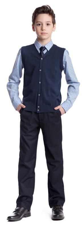 Галстук для мальчика Scool, цвет: темно-синий. 363055. Размер универсальный363055Классический галстук Scool изготовлен из полиэстера. Модель оформлена принтом в мелкую полоску.