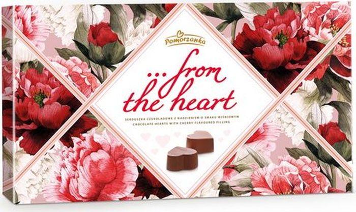 Pomorzanka От Всего Сердца конфеты из темного шоколада с вишневой начинкой, 228 г7.21.01Сочные вишни в ликере, скрытые в восхитительном темном шоколаде… Такой подарок - это чистое удовольствие роскошных вкусов, оформленных в элегантную коробку. Пищевая ценность в 100 г: углеводы - 59,0 г, из которых сахара - 55,0 г, жиры - 23,0 г, в том числе насыщенных - 14,0 г, белки - 3,2 г.