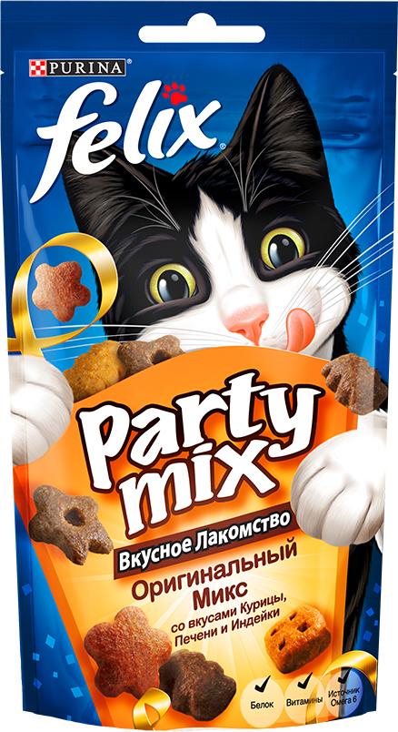 Лакомство для кошек Felix Party Mix Оригинальный Микс, cо вкусами курицы, печени и индейки, 60 г лакомство для кошек felix party mix гриль микс cо вкусами говядины курицы и лосося 60 г