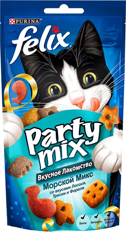Лакомство для кошек Felix Party Mix Морской Микс, cо вкусами лосося, трески и форели, 60 г12234058Вкусное лакомство Felix Party Mix Морской Микс cо вкусами лосося, трески и форели - это дополнение к ежедневному рациону, с помощью которого вы можете баловать вашего питомца, когда вам этого хочется. В каждой упаковке вы найдете удивительное сочетание ароматных гранул с восхитительным вкусом и аппетитной текстурой! И это еще не все! Вкусное Лакомство содержит белок, витамины и Омега 6 жирные кислоты для того, чтобы помочь Вашему питомцу быть счастливым и здоровым. Рекомендации по кормлению: Ежедневная норма кормления для взрослой кошки весом 4 кг: до 15г или примерно до 40 гранул. Обычный ежедневный рацион желательно корректировать в соответствии с количеством используемого лакомства. Свежая питьевая вода всегда должна быть доступна для вашей кошки. Присутствуйте рядом с вашим питомцем во время кормления Вкусным Лакомством.Состав: мясо и продукты его переработки, злаки, жиры и масла, растительный белок, рыба и продукты ее переработки (26%)*, минеральные вещества, различные сахара, дрожжи, консерванты, красители, витамины и антиоксиданты. (*Эквивалентно 3.5% восстановленной рыбы и продуктов ее переработки, из которых содержание лосося - 0.5%, трески - 0.5% и форели - 0.5%). Добавленные вещества: МЕ/кг: Витамин А: 31 700; Витамин Д: 1 000; Витамин Е: 170; МГ/кг: Железо: 75; Йод: 1.9; Медь: 12; Марганец: 36; Цинк: 140; Селен: 0.12. Гарантируемые показатели: Белок 35.0%; Жир 20.0%; Сырая зола 8.5%; Сырая клетчатка 0.5%; Линолевая кислота (Омега 6) 26 900 мг/кг. Товар сертифицирован.Уважаемые клиенты!Обращаем ваше внимание на возможные изменения в дизайне упаковки. Качественные характеристики товара остаются неизменными. Поставка осуществляется в зависимости от наличия на складе.