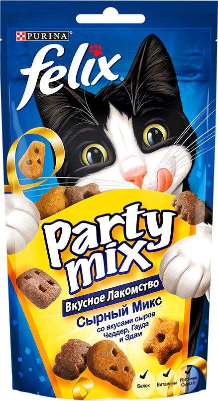 Лакомство для кошек Felix Party Mix Сырный микс, cо вкусами сыров Чеддер, Гауда и Эдам, 60 г