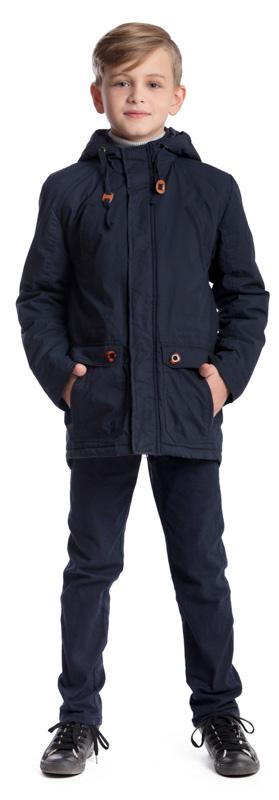 Куртка для мальчика Scool, цвет: темно-синий. 373403. Размер 158, 13 лет373403Практичная утепленная куртка Scool изготовлена из ткани со специальной водоотталкивающей пропиткой. Куртка с несъемным капюшоном застегивается на молнию с ветрозащитной планкой. Капюшон дополнен по краю регулируемым шнурком-кулиской. На манжетах предусмотрены застежки-кнопки. Спереди расположены два кармана на груди и два кармана с клапанами в нижней части изделия.Светоотражающие элементы обеспечат безопасность ребенка в темное время суток.