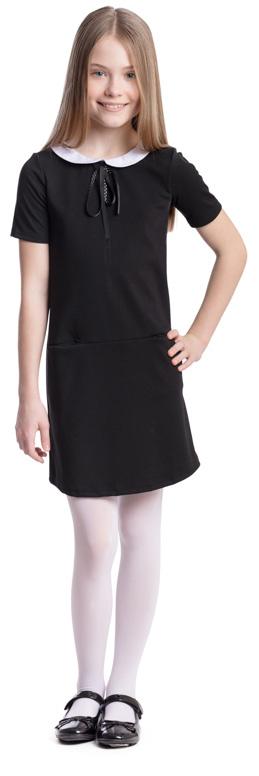 Платье для девочки Scool, цвет: черный, белый. 374469. Размер 128, 8 лет374469Платье для девочки Scool выполнено из полиэстера, вискозы и эластана. Модель с круглым вырезом горловины и короткими рукавами застегивается сзади на молнию. Спереди расположены карманы. Платье дополнено съемным воротником на пуговицах. В качестве декора на изделии использован аккуратный бант из тонкой атласной ленты.