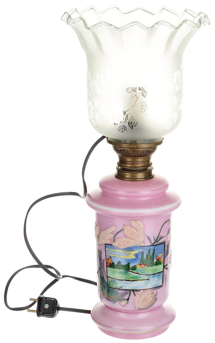Настольная лампа (переделка из керосиновой) с оригинальным плафоном. Металл, стекло, роспись эмалевыми красками, обсыпка. Западная Европа, конец ХIХ - начало ХХ века