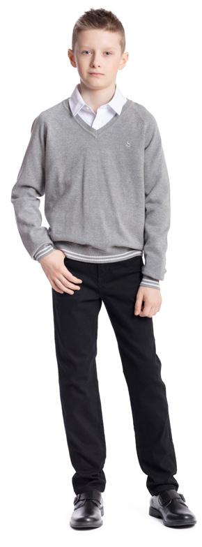 Пуловер для мальчика Scool, цвет: серый меланж. 373414. Размер 152, 12 лет373414Пуловер для мальчика Scool изготовлен из мягкой и тактильно приятной ткани. Модель с V-образным вырезом горловины и длинными рукавами-реглан дополнит повседневный школьный гардероб ребенка. За счет специальной вставки из уплотненной ткани контрастного цвета, горловина изделия не растягивается и не деформируется. Манжеты и низ пуловера выполнены в технике Yarn Dyed - в процессе производства используются нити разного цвета. В качестве небольшого декора использована аппликация.