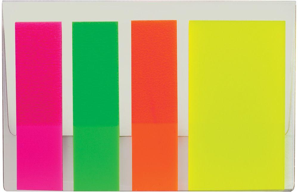 Brauberg Закладка с липким слоем 4 шт по 25 листов126698Пластиковые полупрозрачные закладки Brauberg используются для выделения фрагментов текста и эффективно заменяют маркер. Крепятся к любой поверхности, не оставляя на ней следов.
