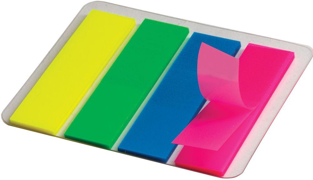 Staff Закладка с липким слоем 1,2 х 4,5 см 4 цвета127148Самоклеящиеся пластиковые полупрозрачные флажки-закладки ярких неоновых цветов Staff - эффективный способ выделить важную информацию без повреждения поверхности документа или книги. Подходят для крепления на любой поверхности. Легко отклеиваются, не оставляя следов.В комплекте 4 закладки разного цвета по 25 листов.