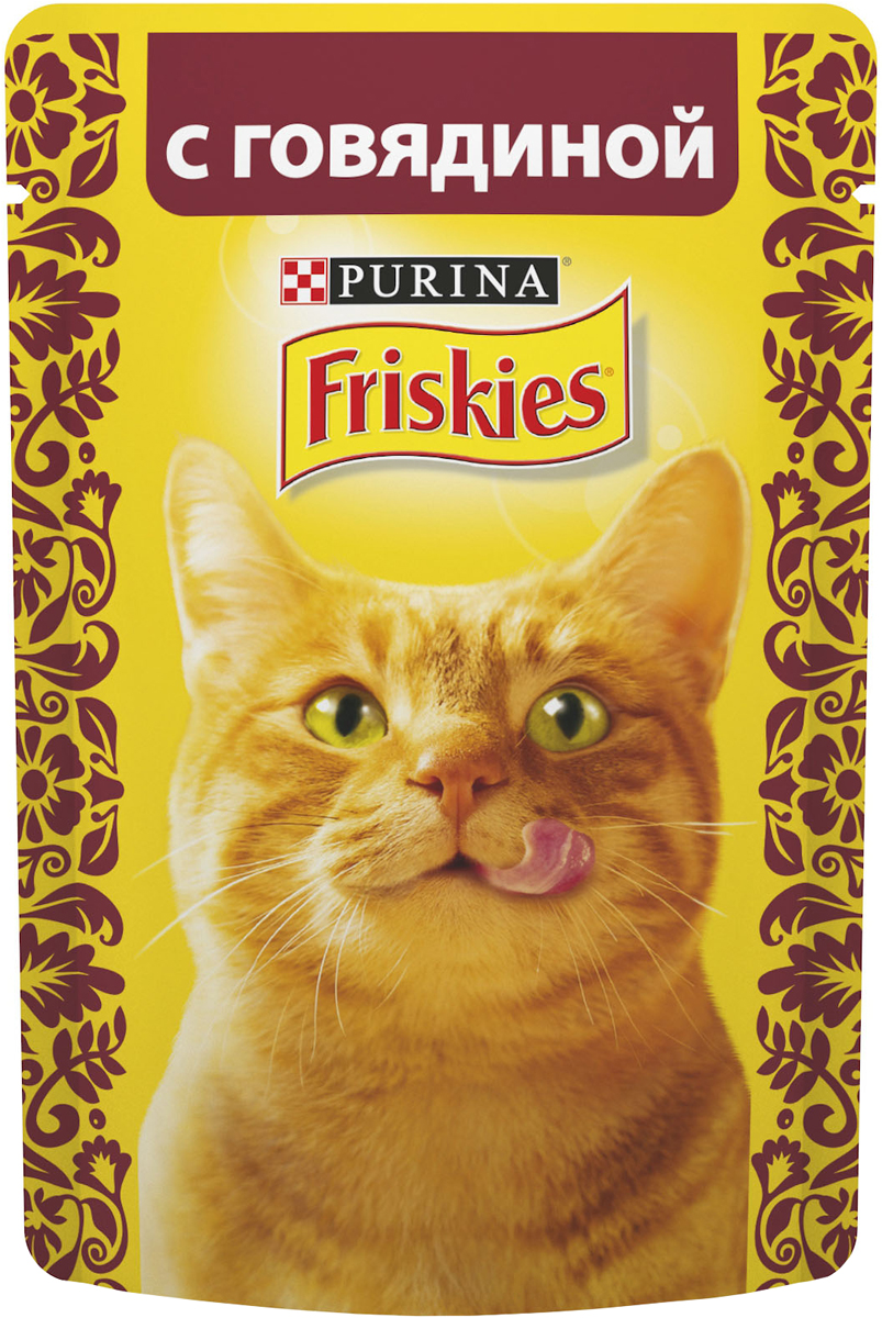 Консервы для кошек Friskies, с говядиной, 85 г12261826Консервы для кошек Friskies приготовлены из тщательно отобранных ингредиентов для того, чтобы ваша кошка получала только лучшее. Консервы содержат качественный белок, витамины, минералы и другие вкусные и полезные компоненты. Такой корм является полнорационным и сбалансированным питанием на каждый день. Корм Friskies специально приготовлен, чтобы обеспечивать вашу кошку основными питательными веществами для поддержания ее здоровья и счастья каждый день. Состав: мясо и продукты переработки мяса (из которых говядины 4%), злаки, минеральные вещества, сахара, витамины. Пищевая ценность: влага 84%, белок 6,5%, жир 2,5%, сырая зола 2%, сырая клетчатка 0,1%, линолевая кислота (омега 6 жирные кислоты) 0,4%.Добавки: витамин А 620 МЕ/кг, витамин D3 90 МЕ/кг, железо 7,2 мг/кг, йод 0,18 мг/кг, медь 0,6 мг/кг, марганец 1,4 мг/кг, цинк 13 мг/кг, таурин 390 мг/кг. Товар сертифицирован.