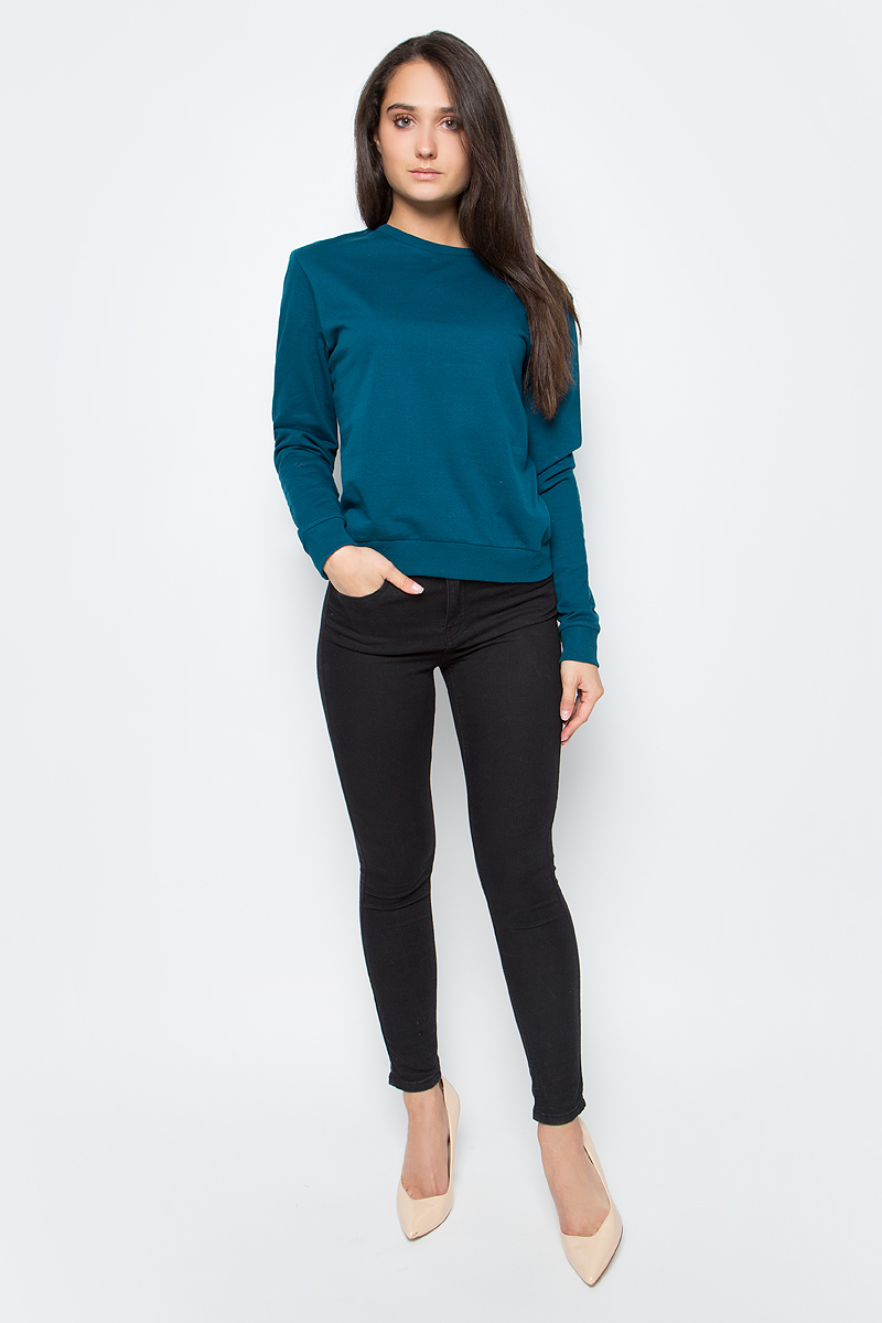 цены Джемпер женский oodji Ultra, цвет: темно-бирюзовый. 14808015/46151/7400N. Размер XL (50)