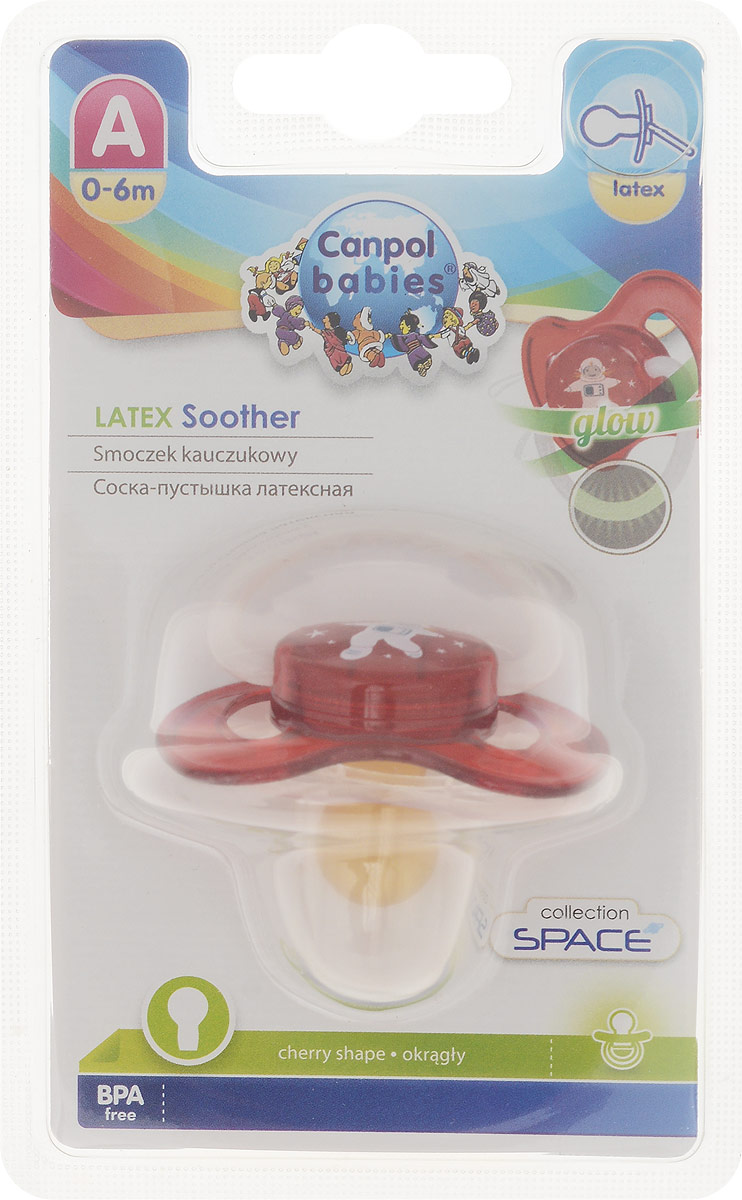 Canpol Babies Пустышка латексная Space от 0 до 6 месяцев цвет красный
