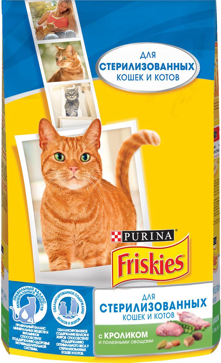 Корм сухой Friskies для стерилизованных кошек, с кроликом и овощами, 1,5 кг60090Полнорационное и вкусное питание Friskies, специально разработанное для стерилизованных кошек и котов, изготовлено с использованием ингредиентов высокого качества. Стерилизованные кошки и коты склонны набирать лишний вес и чаще подвержены заболеваниям мочевыделительной системы из-за специфических изменений в организме. В связи с этим, их ежедневный рацион должен содержать правильное соотношение жиров, белков и всех необходимых витаминов и минеральных веществ. Friskies - это полнорационное сбалансированное питание, специально разработанное для стерилизованных питомцев. Корм поддерживает здоровье и жизненную энергию вашего питомца, позволяя ему удивлять и радовать вас каждый день. Особенности: - Сбалансированное содержание белков и жиров способствует поддержанию оптимального веса. - Правильный баланс минеральных веществ и витаминов способствует поддержанию здоровья мочевыделительной системы. - Витамин Е поддерживает иммунитет. Товар сертифицирован.
