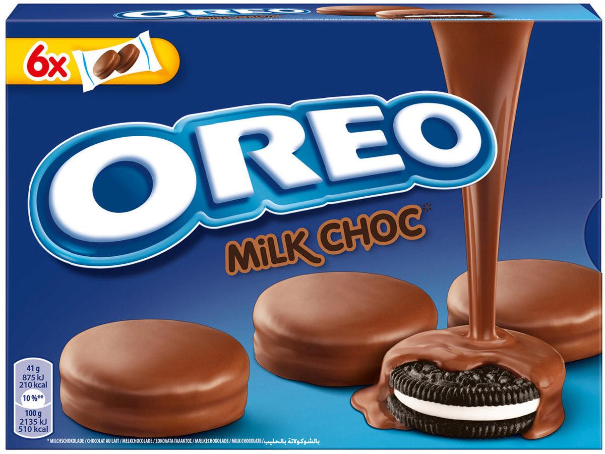 Oreo Milk chocolate, сладкое сухое печенье-сэндвич, 246 гУУ-00000147Восхитительное печенье Oreo стало в разы лучше: оно больше, внутри по-прежнему любимая ванильная прослойка, а сверху оно покрыто отличным молочным шоколадом.