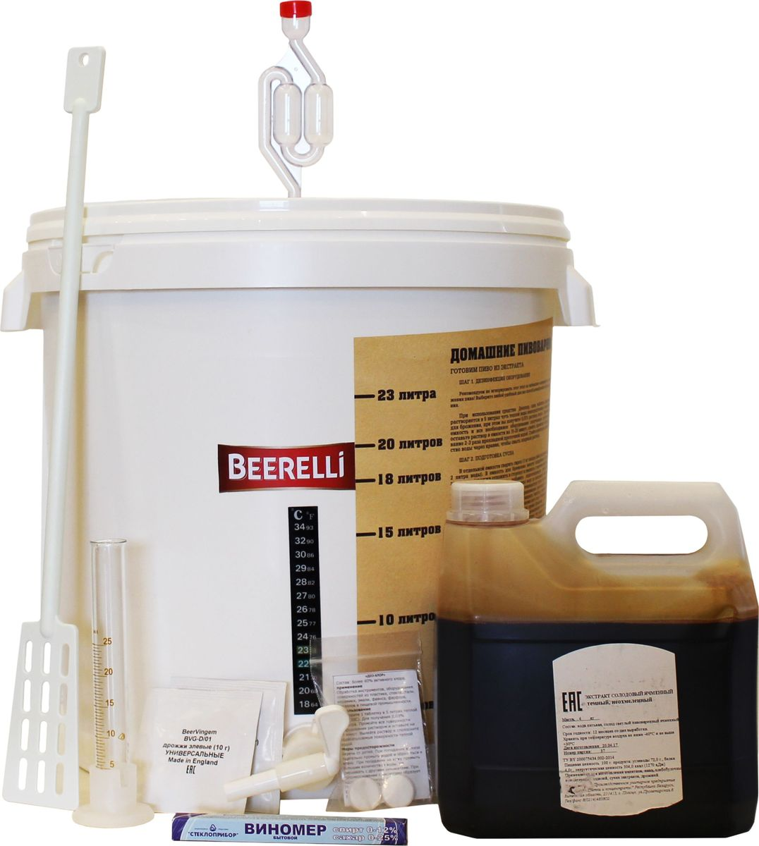 Beerelli Набор Мини-пивоварня из 10 предметов, 4 кгУТ000001886Мини-пивоварня Бирелли - выгодное решение для домашнего пивоварения. Комплектация: ЖК термометр, ёмкость для брожения объемом 30 л, краник D25, ложка-мешалка пластиковая 25 см, гидрозатвор с уплотнительной пробкой, виномер-сахорамер, цилиндр 25 мл, таблетки для дезинфекции Део-Хлор, дополнительный комплект и экстракт солодово ячменный светлый охмеленный 4 кг.