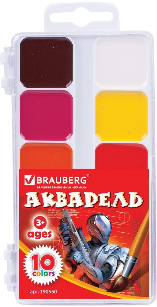 Brauberg Акварель 10 цветов190550Акварельные краски Brauberg имеют яркие насыщенные цвета, дают множество оттенков при смешивании и обеспечивают однородное окрашивание.Акварель предназначена для детского творчества и различных художественных работ.
