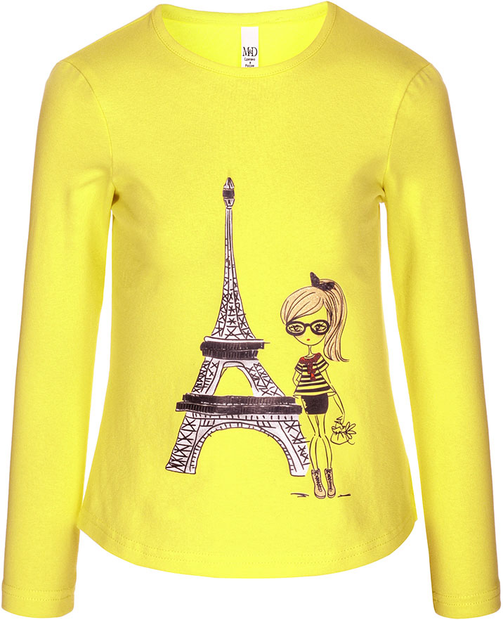 Футболка с длинным рукавом для девочки M&D, цвет: желтый. SJF27077M02. Размер 128SJF27077M02Детская футболка M&D выполнена из эластичного хлопка. Модель с длинными рукавами и круглым вырезом горловины спереди оформлена принтом.
