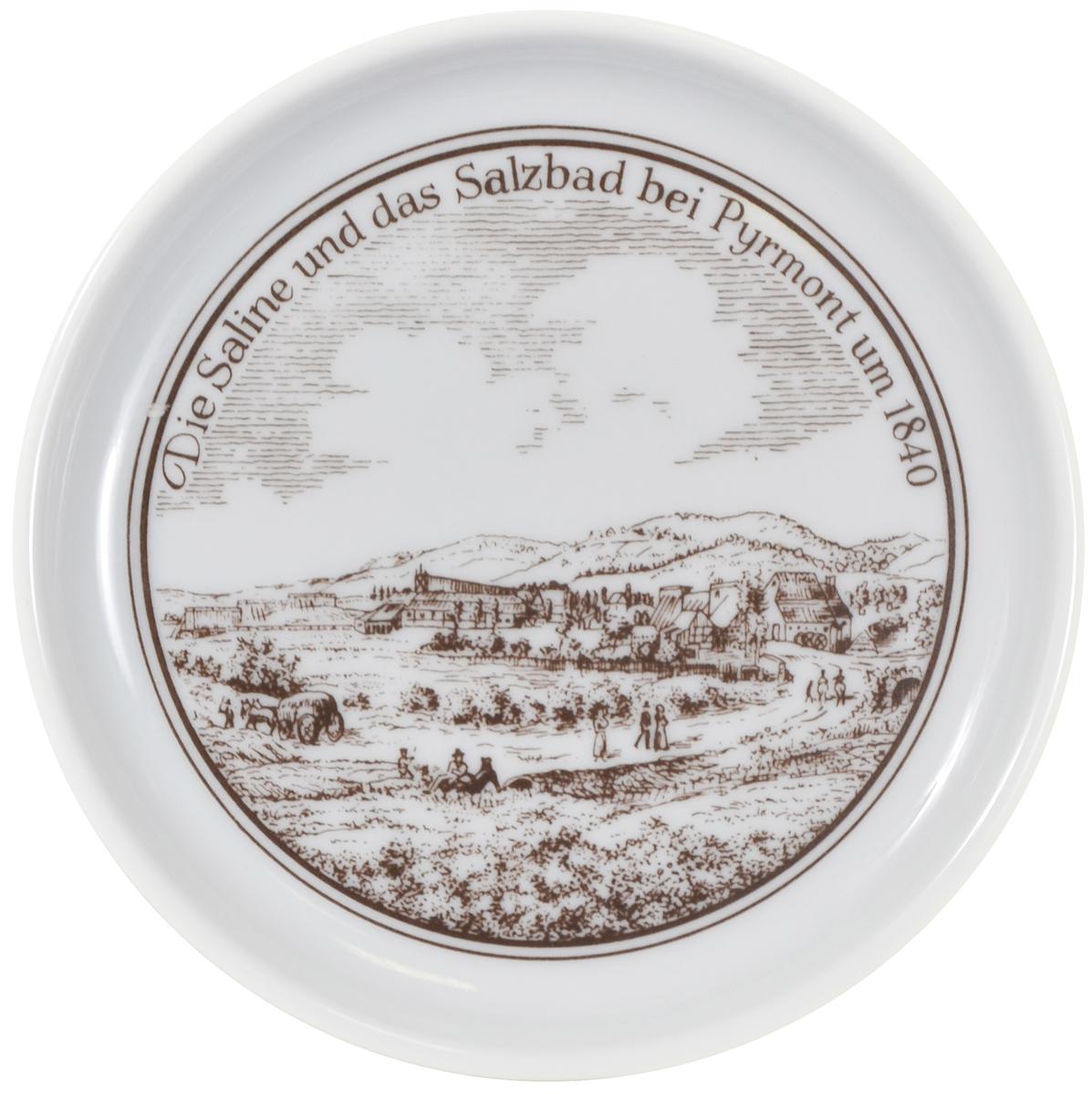 Целебные источники Бад-Пирмонта в 1840 году, декоративная тарелка. Фарфор. Furstenberg, Германия, 1980 гг бад латл в украине