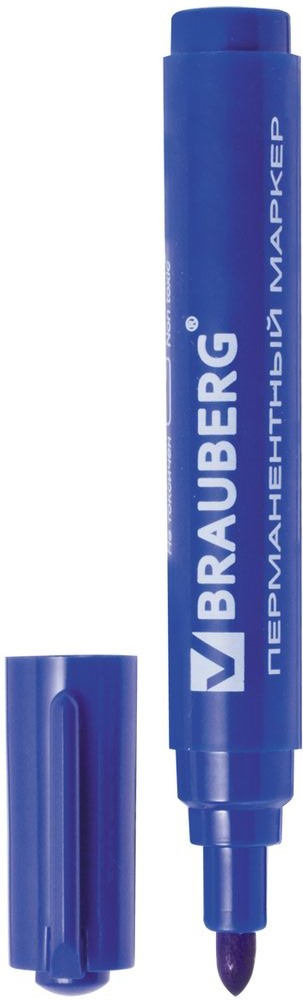 Brauberg Маркер перманентный Classic цвет синий150301Перманентный маркер Brauberg Classic предназначен для письма на любой поверхности.Заправлен водостойкими чернилами.Фетровый наконечник круглой формы характеризуется повышенной износостойкостью.Ширина линии письма - 3 мм.
