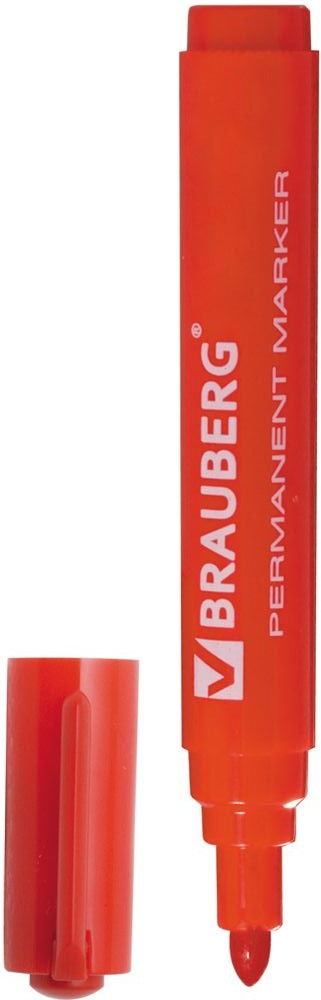 Brauberg Маркер перманентный Classic цвет красный150302Перманентный маркер Brauberg Classic предназначен для письма на любой поверхности.Заправлен водостойкими чернилами.Фетровый наконечник круглой формы характеризуется повышенной износостойкостью.Ширина линии письма - 3 мм.