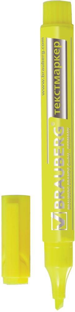 Brauberg Маркер Energy цвет лимонный150482Маркер Brauberg Energy предназначен для выделения текста на бумаге любого типа, включая факс-бумагу.Заправлен светоустойчивыми чернилами, которые не выцветают даже на открытом солнце и не заметны при передаче текста по факсу.Прочный износоустойчивый наконечник скошенной формы позволяет проводить линии различной толщины.Ширина линии письма: 1-3 мм.Цвет чернил - лимонный.Нестираемый.