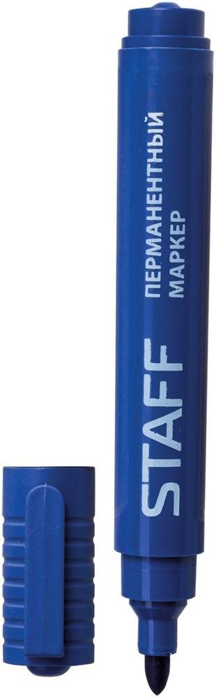 Staff Маркер перманентный цвет синий150732Простой и надежный маркер для повседневного использования. Предназначен для письма на любой поверхности. Заправлен водостойкими чернилами.Фетровый наконечник круглой формы характеризуется повышенной износостойкостью.Толщина линии - 2,5 мм.