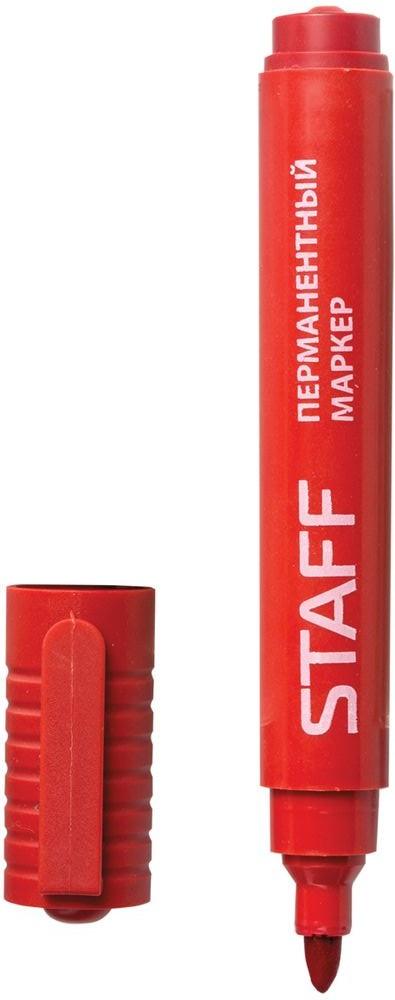 Staff Маркер перманентный цвет красный150734Простой и надежный маркер для повседневного использования. Предназначен для письма на любой поверхности. Заправлен водостойкими чернилами.Фетровый наконечник круглой формы характеризуется повышенной износостойкостью.Толщина линии - 2,5 мм.