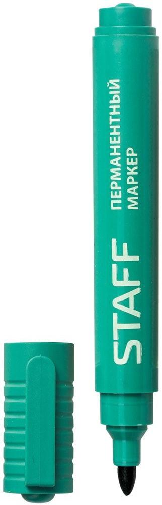 Staff Маркер перманентный цвет зеленый150735Простой и надежный маркер для повседневного использования. Предназначен для письма на любой поверхности. Заправлен водостойкими чернилами.Фетровый наконечник круглой формы характеризуется повышенной износостойкостью.Толщина линии - 2,5 мм.