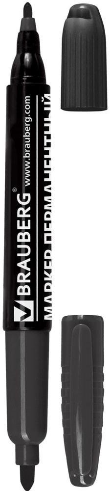 Brauberg Маркер перманентный двусторонний цвет черный150836Перманентный маркер Brauberg предназначен для письма на любой поверхности. На противоположных концах корпуса имеет два износостойких круглых фетровых наконечника толщиной 2 и 4 мм, что обеспечивает удобство применения маркера для любых целей.Заправлен водостойкими чернилами.