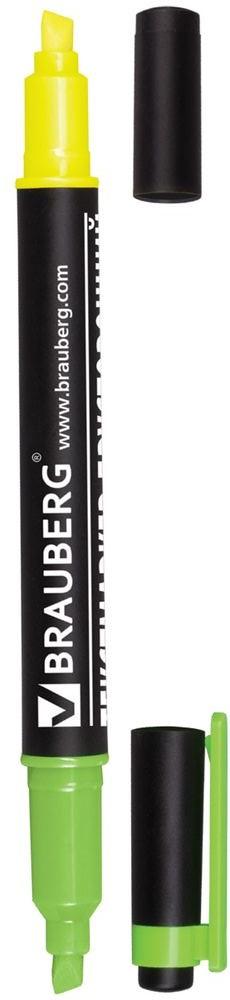 Brauberg Маркер двусторонний цвет лимонный зеленый150841Двусторонний маркер Brauberg предназначен для выделения текста на бумаге любого типа, включая факс-бумагу. Светостойкие чернила незаметны при передаче текста по факсу.Маркер имеет два скошенных наконечника на противоположных концах корпуса, подающие чернила двух разных цветов.Толщина линии - 1-4 мм.