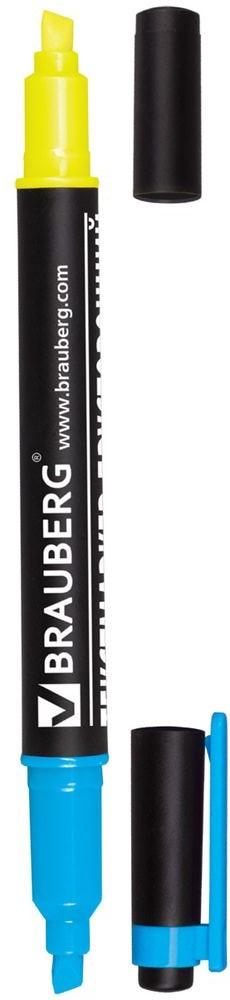 Brauberg Маркер двусторонний цвет лимонный голубой150842Двусторонний маркер Brauberg предназначен для выделения текста на бумаге любого типа, включая факс-бумагу. Светостойкие чернила незаметны при передаче текста по факсу.Маркер имеет два скошенных наконечника на противоположных концах корпуса, подающие чернила двух разных цветов.Толщина линии - 1-4 мм.