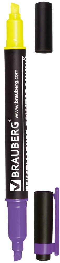 Brauberg Маркер двусторонний цвет лимонный фиолетовый234210Двусторонний маркер Brauberg предназначен для выделения текста на бумаге любого типа, включая факс-бумагу. Светостойкие чернила незаметны при передаче текста по факсу.Выделение фиолетовыми чернилами видно при копировании документа.Маркер имеет два скошенных наконечника на противоположных концах корпуса, подающие чернила двух разных цветов.Толщина линии - 1-4 мм.