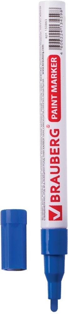 Brauberg Маркер-краска цвет синий 150864150864Маркер Brauberg предназначен для маркировки различных материалов в промышленных условиях: бетона, дерева, стекла, металла, резины, пластика. Пишет по сухим, влажным, жирным, грязным, ржавым поверхностям.Корпус выполнен из алюминия.Заправлен высококачественными стойкими чернилами с лаковым эффектом. Чернила отличаются термо- и водостойкостью, устойчивы к выцветанию.Ширина линии письма - 1-2 мм.Рабочий температурный диапазон - от - 15° С до +60° С.