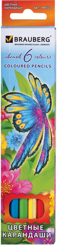 Brauberg Набор цветных карандашей Wonderful Butterfly 6 цветов180522В набор Brauberg Wonderful Butterfly входят 6 карандашей ярких цветов. Высокосортная древесина обеспечивает сохранность грифеля, который мягко рисует на бумаге.Карандаши имеют шестигранный корпус.Легко затачиваются.