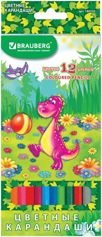 Brauberg Набор цветных карандашей Динозаврик-футболист 12 цветов180530В набор Brauberg Динозаврик-футболист входят 12 карандашей, снабженных мягким грифелем яркого цвета. Изготовлены из древесины ценных пород.Карандаши имеют шестигранный корпус.Легко затачиваются.
