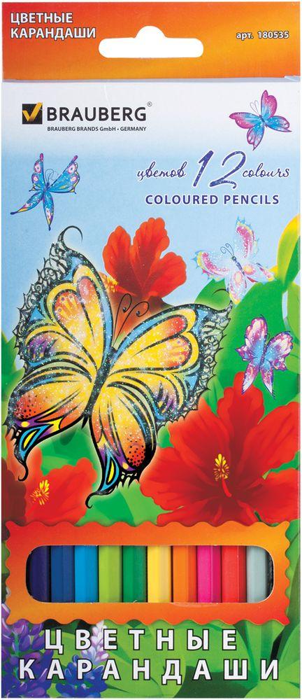 Brauberg Набор цветных карандашей Wonderful Butterfly 12 цветов180535В набор Brauberg Wonderful Butterfly входят 12 карандашей ярких цветов. Высокосортная древесина обеспечивает сохранность грифеля, который мягко рисует на бумаге.Карандаши имеют шестигранный корпус.Легко затачиваются.