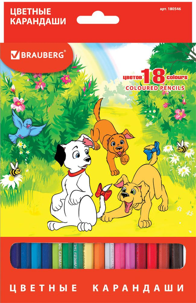 Brauberg Набор цветных карандашей My Lovely Dogs 18 цветов180546В набор Brauberg My Lovely Dogs входят 18 карандашей насыщенных цветов, изготовленных из древесины ценных пород.Карандаши имеют шестигранный корпус и мягкий грифель.Рисунок ляжет на бумагу густо, сплошной четкой линией.Легко затачиваются.