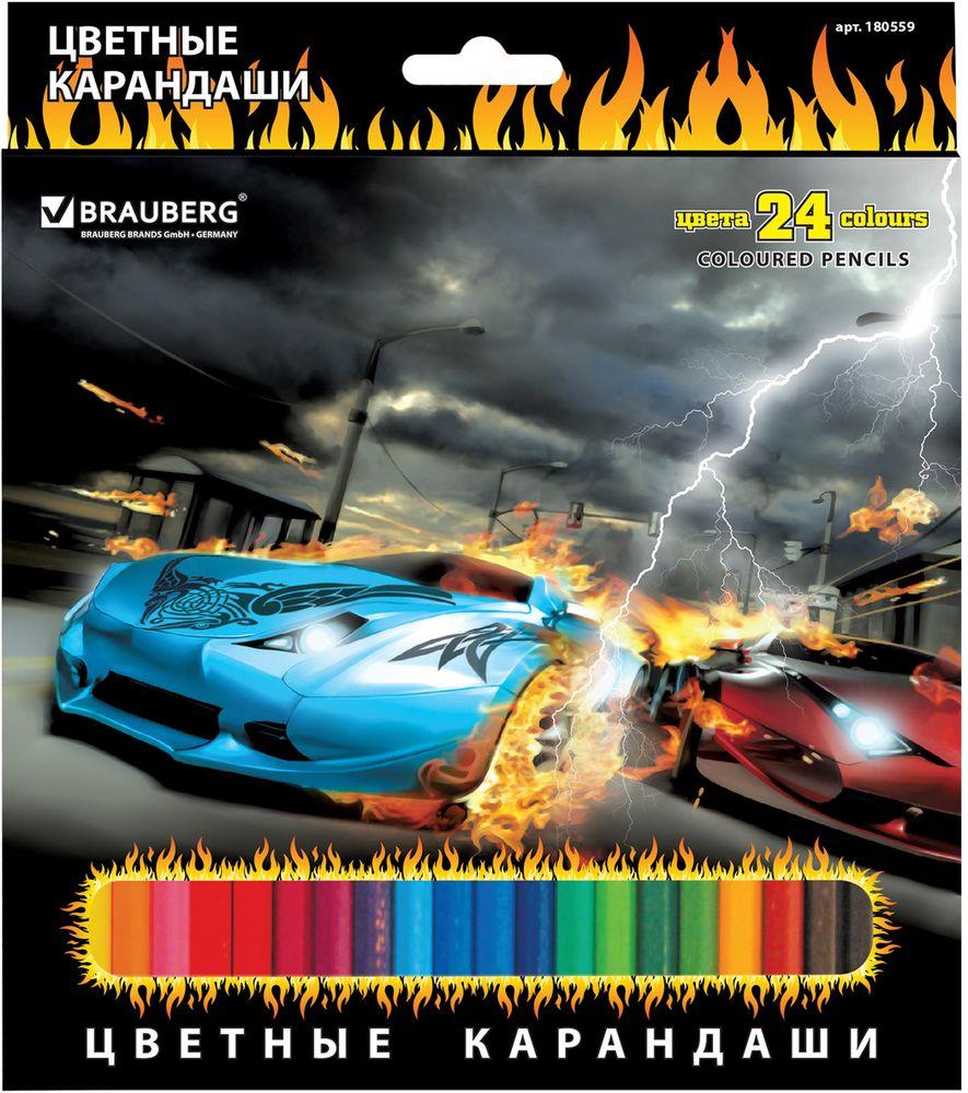 Brauberg Набор цветных карандашей InstaRacing 24 цветаСК083/24В набор Brauberg InstaRacing входят 24 цветных карандаша шестигранной формы. Для производства карандашей использовалась качественнаядревесина, которая гарантирует сохранность мягкого грифеля и легкую заточку. Коробка с подвесом украшена ярким изображением автомобиля.