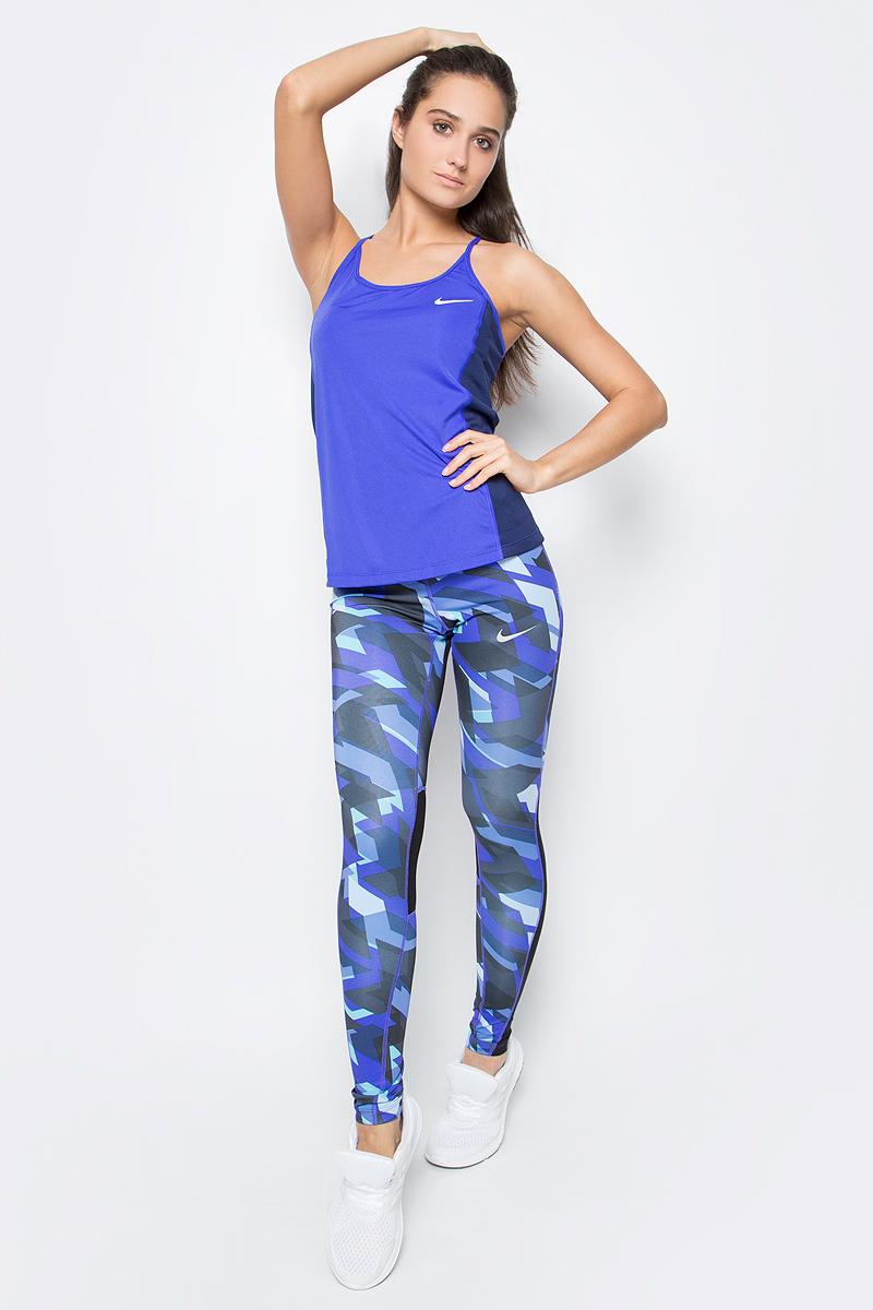 Майка для фитнеса женская Nike Nk Dry Miler Tank, цвет: синий, темно-синий. 831522-429. Размер M (44/46)831522-429Женская майка Nike Dry Miler выполнена из влагоотводящей ткани поможет развить максимальную скорость. Новый дизайн Т-образной спины не сковывает движений во время длительных пробежек.Ткань Nike Dry с технологией Dri-FIT отводит влагу и обеспечивает комфорт.Плоские швы не натирают кожу.Боковые вставки из сетки улучшают вентиляцию.