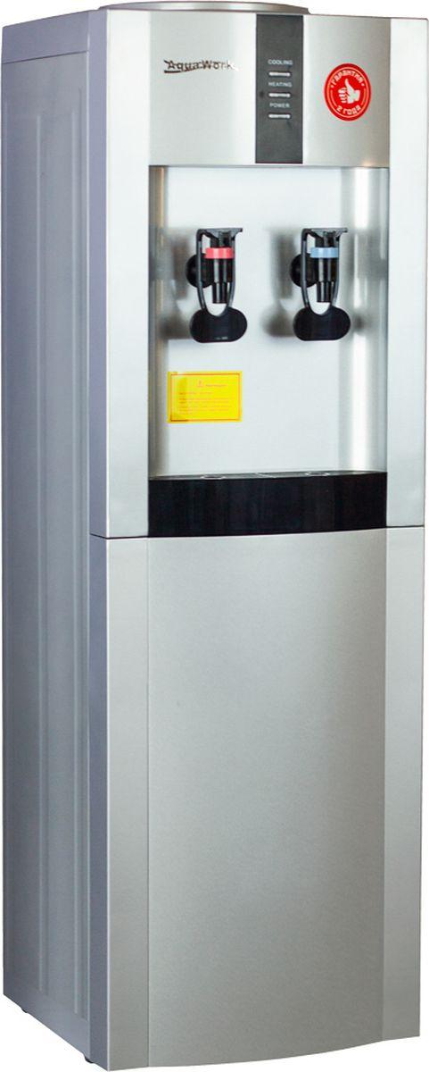 Aqua Work 16LD/EN, Silver кулер для воды10513Классический напольный кулер для воды с электронной системой охлаждения Aqua Work 16-LD/EN.Нагрев - не меньше 7 литров в час до температуры 90-96°С (мощность 700 Вт, бак объемом 1 литр) Охлаждение - 1 литр в час на 12-15 градусов ниже температуры окружающей среды Строгий минималистический дизайн Индикаторы режимов работы (подключение к сети, нагрев и охлаждение) выведены в черном прямоугольномблоке вверху аппарата Изготовленный из стали корпус диспенсера дает возможность устанавливать стаканодержатели и нашурупах и на магнитах
