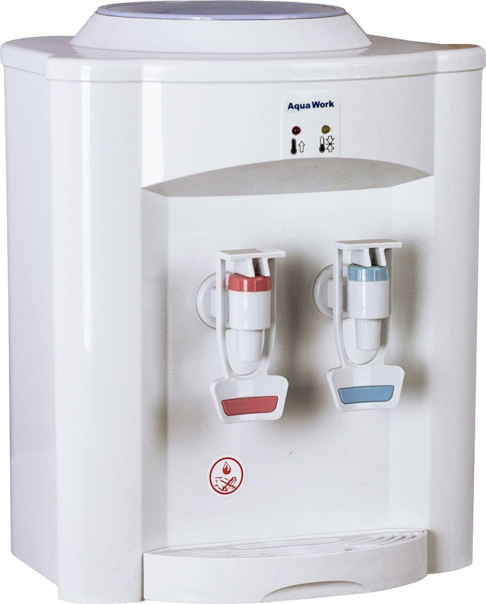Aqua Work 720Т кулер для воды10517Настольный кулер Aqua Work 720Т с нагревом, но без системы охлаждения - отличная замена электрическому чайнику для бутилированной воды дома и на работе. Бак нагрева мощностью 500 Вт обеспечивает подачу не менее 5 литров горячей воды в час с температурой не менее 90-93 градусов. Вода комнатной температуры из второго, синего краника. 2 краника со специальными резиновыми полосками для предотвращения соскальзывания кружки.