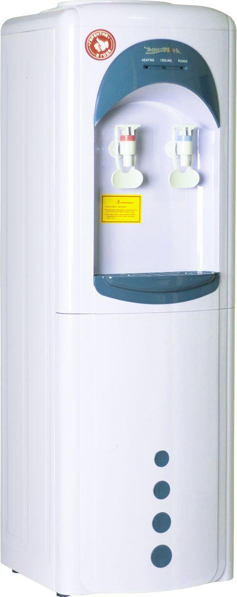 Aqua Work 16LW/HLN диспенсер для воды11369Водораздатчик Aqua Work 16LW/HLN удобен и практичен для использования с питьевой водой в бутыли.Конечно, для этих целей можно использовать и механическую помпу, это более дешевый вариант, но менее удобный. Диспенсер имеет множество преимуществ перед ручной помпой.Напольный аппарат надежно стоит на твердой поверхности (на полу), не шатается, его сложно случайно опрокинуть вместе с полной бутылью.В целях минимизации затрат на производство используется стандартный корпус кулера 16HL серии, поэтому у раздатчика так же два краника, как у стандартных аппаратов с нагревом и охлаждением. И это является еще одним несомненным плюсом, ведь есть возможность осуществлять розлив одновременно из обоих кранов, что очень удобно при большом количестве жаждущих.Возможно использование любого типа стаканодержателей - с креплением на шурупах и на магнитах, что так же добавляет удобства в эксплуатации, т.к. одноразовые стаканчики будут всегда под рукой.Удобные краники типа нажим кружкой значительно облегчают набор питьевой воды, ведь, в отличии от помпы, здесь достаточно лишь одной свободной руки. Просто прикоснитесь чашкой или стаканчиком к лапке крана и все.Немаловажным плюсом так же является и внешний вид аппарата. Монохромный корпус с обтекаемыми контурами приятно оттеняет контрастный каплесборник, а так же вставки над рабочей поверхностью и на нижней лицевой его части. Орнамент из кругов различного размера придает диспенсеру долю романтичности.Кулер для воды Aqua Work 16LW/HLN без нагрева и охлаждения - отличный вариант для установки в школах, детских садах и других учреждениях, где по нормам безопасности запрещено устанавливать энергозависимые приборы, а так же дома или в местах с большой проходимостью людей, где достаточно будет воды комнатной температуры.