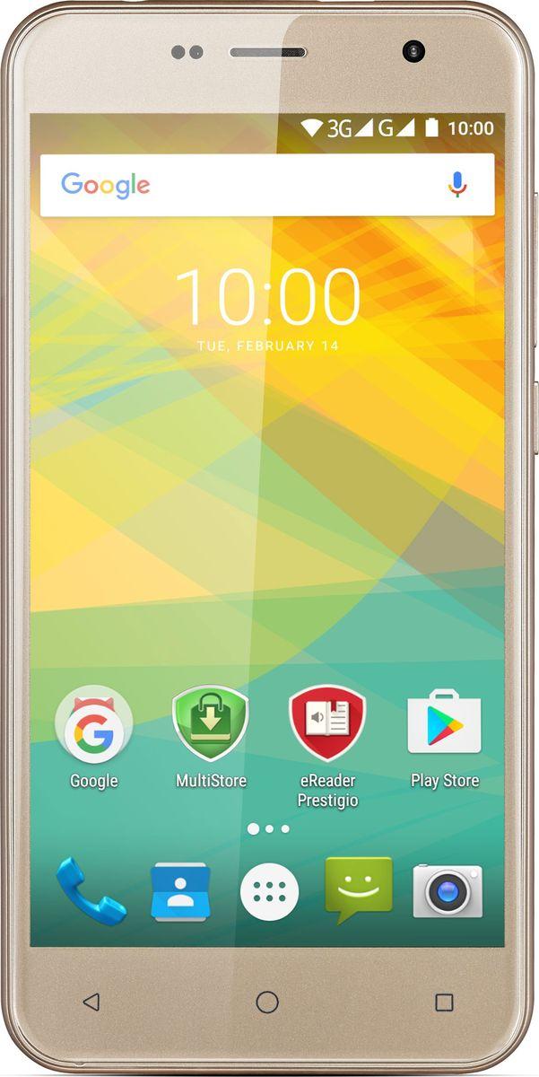 Prestigio Muze B3, GoldPSP3512DUOGOLDВыделяться в толпе легко с новым Prestigio Muze B3! Он элегантный и модный благодаря обтекаемому корпусу, экрану с 2,5D-стеклом и модным расцветкам. В нем красота сочетается с умом (мощный четырехъядерный процессор, Android 6.0 Marshmallow и 1 ГБ ОЗУ), а значит, он справится с любыми повседневными задачами. Смартфон оценят те, кто не хочет идти на компромисс между стильным внешним видом, техническими возможностями и ценой.Насыщенные цвета корпуса привлекают внимание! Выберите между изысканным марсала, ярким золотым или классическим черным и подчеркните свой неповторимый стиль. Изогнутое 2.5D-стекло экрана придает Muze B3 привлекательный внешний вид, а вам дарит улучшенные тактильные ощущения.Prestigio Muze B3 имеет яркий 5,0-дюймовый экран. Диагональ достаточно широка для комфортного чтения, работы, игр и просмотра фильмов. Технология IPS и HD-разрешение обеспечивают больше удовольствия при любых сценариях использования.Вдобавок к красивому дизайну и высококачественному экрану, Muze B3 надежен и обладает высокой производительностью. Четырехъядерный процессор MT6580 частотой 1,3 ГГц и 1 ГБ оперативной памяти обеспечивают удобную работу без подвисаний даже в режиме многозадачности.Производительность смартфона повышается за счет Android 6.0 Marshmallow. Он также позволяет Muze B3 работать дольше благодаря режиму экономии энергии Doze, и открывает множество возможностей настройки приложений.Смартфон также хорош для съемки фотографий и видео. Он оснащен 8-мегапиксельной камерой с подсветкой (BSI) и светодиодной вспышкой. Контент, сделанное с Muze B3, будет четким и ярким даже в сложных условиях освещения.Muze B3 помогает экономить деньги за счет одновременного использования двух SIM-карт. Включите одну для звонков и другую - для супербыстрого доступа к 3G-интернету и оставайтесь на связи в течение всего дня, используя одно устройство вместо двух. Кроме того, цена смартфона очень понравится экономным людям.Телефон сертифицирован EAC и 