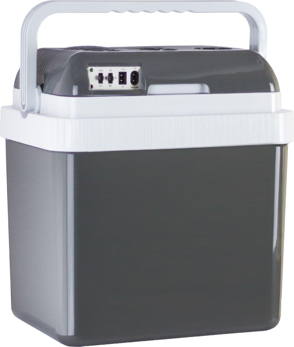 Aqua Work YT-A-24X автохолодильник19200Автохолодильник Aqua Work YT-A-24X с полезной емкостью 24 литра несомненно завоюет популярность у профессиональных водителей, строителей, туристов, любителей пикников на свежем воздухе и других людей, проводящих много времени в дороге. Изготовлен из прочного качественного пищевого пластика. Темно-серый глянцевый корпус со светлыми вставками смотрится очень эффектно, а широкая эргономичная ручка позволяет без труда переносить холодильник с места на место.Подключается к автомобильному прикуривателю и к обычной электрической розетке 220В, что делает его практически незаменимым в любых условиях: в дальней дороге, на природе, на даче, в общежитии, на работе, если в вашем офисе нет стационарного холодильника, и даже по пути из супермаркета, например, если вы купили мороженое и попали в автомобильную пробку.С этим холодильником можно не волноваться о сохранности продуктов. Толстые стенки надежно удерживают температуру внутри, а мощный вентилятор способствует равномерному распределению тепла или холода (в зависимости от заданного режима работы).В комплекте поставки: два шнура и съемная перегородка, разделяющая полезный отсек на две части для удобного хранения продуктов различного типа (например бутылей с водой и продуктов питания).Длина шнура для подключения к автоприкуривателю 12В - 180 см, что позволяет с комфортом разместить работающий прибор на задней сиденье машины. Длина шнура для электрической розетки - 150 см.Для удобства длительного непрерывного использования холодильник оснащен функцией ECO, позволяющей ему работать в сберегающем режиме и экономить потребляемую энергию при подключении к электрической розетке (220В).Энергопотребление: 58 Вт охлаждение / 52 Вт нагревЭнергопотребление от 12В: 48 Вт охлаждение / 40 Вт нагревПотребление в ECO-режиме: 8 ВтНагрев: до 65°СОхлаждение: на 20°С ниже окружающей среды