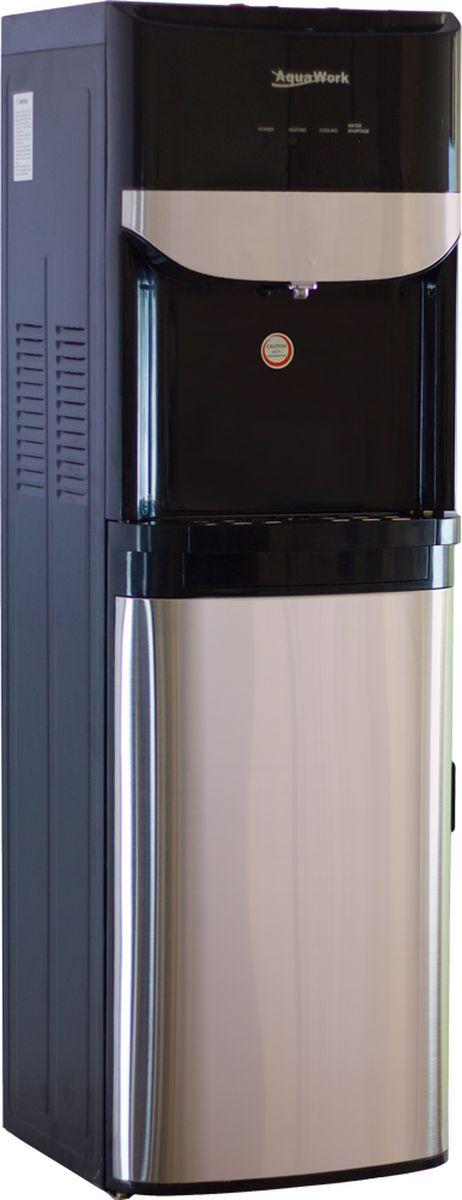 Aqua Work R71-T кулер для воды19342Напольный компрессорный кулер для воды Aqua Work R71-T отлично смотрится в металлическом черном корпусе с зеркальными вставками.3 кнопки: для подачи холодной, горячей и воды напрямую из распределительного бака, с температурой на 2-3 градуса ниже комнатнойНагрев: не менее 4 литров за 1 час до температуры 85-95 градусовОхлаждение: 2-3 литра в час до температуры 7-10 градусовНа кнопке горячей воды - защита от случайного нажатия (защита от детей)Нагрев и охлаждение отключаются по отдельности тумблерами на задней стенке диспенсера4 светодиодных индикатора, отображающие подключение к 220В, работу систем нагрева и охлаждения, плюс датчик опустошении бутылиК черному корпуса кулера Aqua Work R71-T отлично подходят серебристые и черные стаканодержатели с креплением на магнитах или шурупах