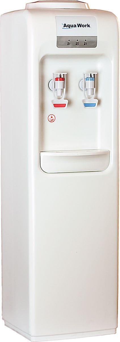 Aqua Work MYR828S кулер для воды20080Напольный кулер Aqua Work MYR828S без системы охлаждения, только нагрев до 90-96 градусов, вода комнатной температуры и предельно лаконичный дизайн.Легкий литой корпус из белого пластикаАппарат успевает нагреть в течении часа не менее 4 литров до температуры 85-90 градусовСистема охлаждения не устанавливается, из синего краника течет вода комнатной температуры напрямую из бутылиКраники подачи - красный (горячий) и синий (для комнатной воды) прорезинены для надежного контакта с кружкойПлавные закругленные линии белого корпусаЗадняя и передняя половинки корпуса крепко спаяны друг с другом