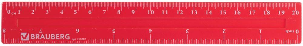 Brauberg Линейка Crystal Vivid 20 см210287Линейка Brauberg из флуоресцентного прочного пластика. Имеет две чёткие контрастные шкалы делений см и дюймы (inch). Предназначена для чертёжных работ.Две шкалы - 20 см/8. Толщина пластика - 2,2 мм.