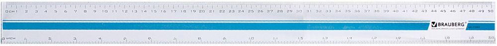 Brauberg Линейка цвет прозрачный 50 см210302Прозрачная линейка Brauberg с печатью на корпусе из прочного пластика. Имеет четкие контрастные шкалы делений: см и дюймы (inch). Предназначена для чертежных работ.Две шкалы - 50 см/20. Толщина пластика - 3 мм.