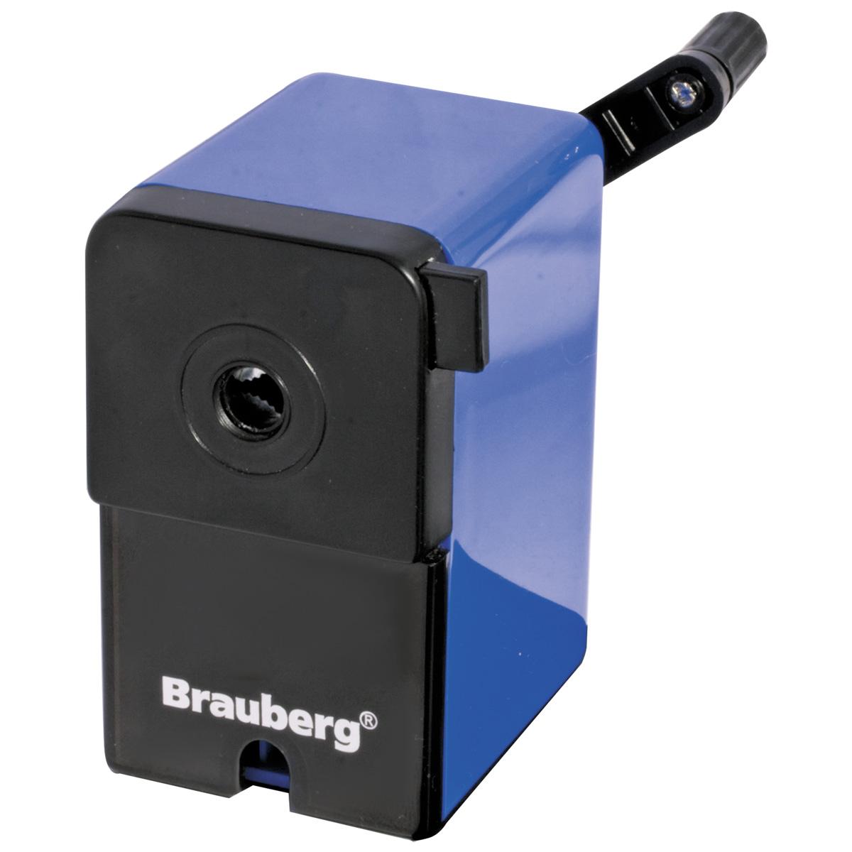 Brauberg Точилка RoboBlue222515Невероятно удобная и стильная точилка Brauberg RoboBlue. Вращающийся роликовый нож изготовлен из высококачественной стали, что обеспечивает великолепную заточку.Качественный металлический затачивающий механизм. Пластиковый корпус. Вместительный контейнер для сбора стружки. Специальный зажим для крепления к столу.